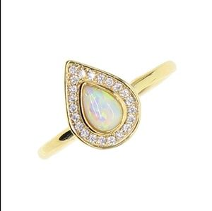14k Gold Pear Shaped Opal Ring with Halo